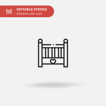 Baby Bed Simple vector icon. Illustration symbol design template for web mobile UI element. Perfect color modern pictogram on editable stroke. Baby Bed icons for your business project