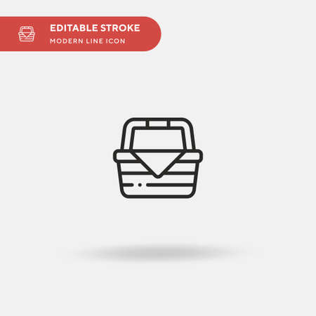 Picnic Basket Simple vector icon. Illustration symbol design template for web mobile UI element. Perfect color modern pictogram on editable stroke. Picnic Basket icons for your business project Illustration