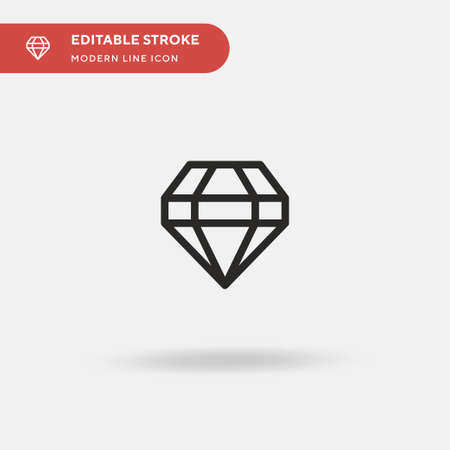 Diamond Simple vector icon. Illustration symbol design template for web mobile UI element. Perfect color modern pictogram on editable stroke. Diamond icons for your business project