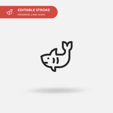 Shark Simple vector icon. Illustration symbol design template for web mobile UI element. Perfect color modern pictogram on editable stroke. Shark icons for your business project