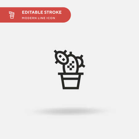 Cactus Simple vector icon. Illustration symbol design template for web mobile UI element. Perfect color modern pictogram on editable stroke. Cactus icons for your business project