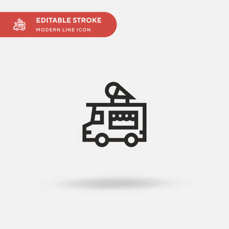 Ice Cream Truck Simple vector icon. Illustration symbol design template for web mobile UI element. Perfect color modern pictogram on editable stroke. Ice Cream Truck icons for your business project