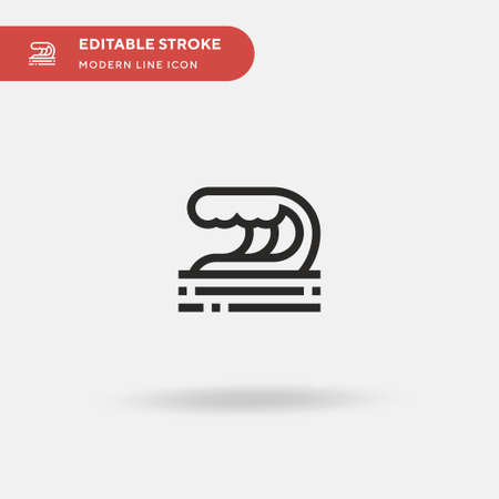 Wave Simple vector icon. Illustration symbol design template for web mobile UI element. Perfect color modern pictogram on editable stroke. Wave icons for your business project