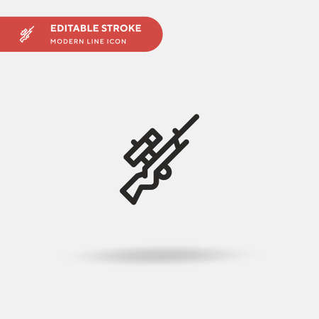 Sniper Rifle Simple vector icon. Illustration symbol design template for web mobile UI element. Perfect color modern pictogram on editable stroke. Sniper Rifle icons for your business project Illustration