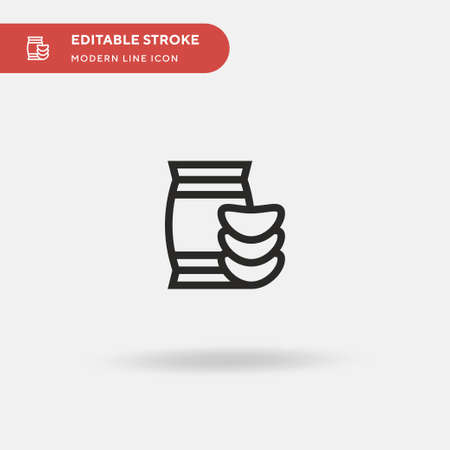 Chips Simple vector icon. Illustration symbol design template for web mobile UI element. Perfect color modern pictogram on editable stroke. Chips icons for your business project Illusztráció