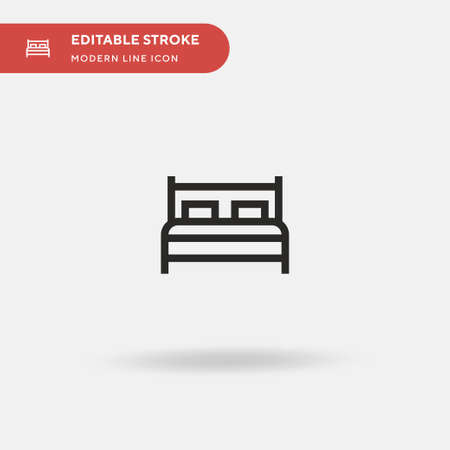 Bed Simple vector icon. Illustration symbol design template for web mobile UI element. Perfect color modern pictogram on editable stroke. Bed icons for your business project Çizim