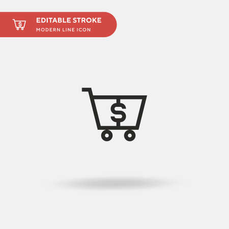 Shopping Cart Simple vector icon. Illustration symbol design template for web mobile UI element. Perfect color modern pictogram on editable stroke. Shopping Cart icons for your business project Çizim