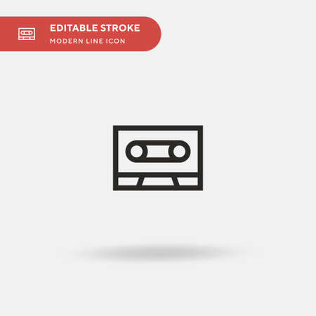 Cassette Simple vector icon. Illustration symbol design template for web mobile UI element. Perfect color modern pictogram on editable stroke. Cassette icons for your business project