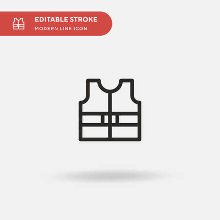 Lifejacket Simple vector icon. Illustration symbol design template for web mobile UI element. Perfect color modern pictogram on editable stroke. Lifejacket icons for your business project