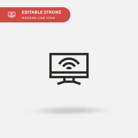 Smart Tv Simple vector icon. Illustration symbol design template for web mobile UI element. Perfect color modern pictogram on editable stroke. Smart Tv icons for your business project Çizim