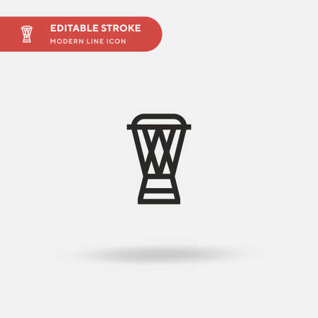 Djembe Simple vector icon. Illustration symbol design template for web mobile UI element. Perfect color modern pictogram on editable stroke. Djembe icons for your business project Ilustração