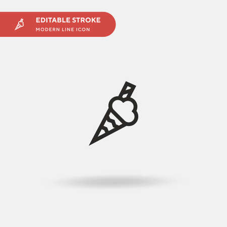 Ice Cream Simple vector icon. Illustration symbol design template for web mobile UI element. Perfect color modern pictogram on editable stroke. Ice Cream icons for your business project