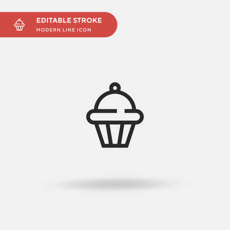 Muffin Simple vector icon. Illustration symbol design template for web mobile UI element. Perfect color modern pictogram on editable stroke. Muffin icons for your business project Vettoriali