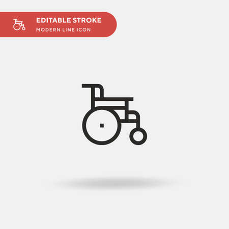 Wheelchair Simple vector icon. Illustration symbol design template for web mobile UI element. Perfect color modern pictogram on editable stroke. Wheelchair icons for your business project