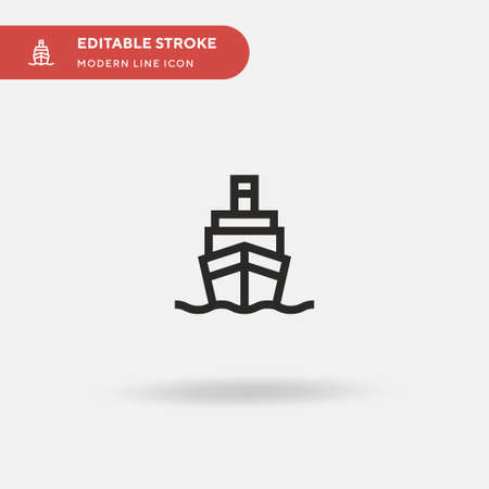 Ship Simple vector icon. Illustration symbol design template for web mobile UI element. Perfect color modern pictogram on editable stroke. Ship icons for your business project Çizim
