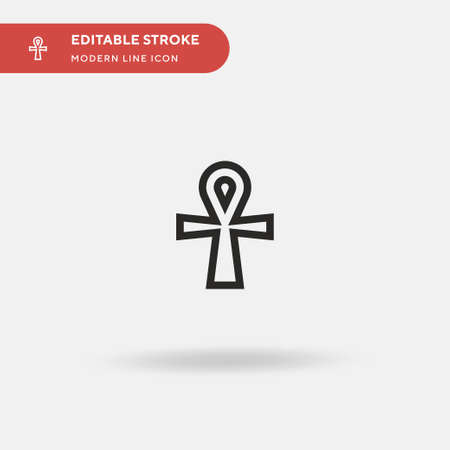 Ankh Simple vector icon. Illustration symbol design template for web mobile UI element. Perfect color modern pictogram on editable stroke. Ankh icons for your business project  イラスト・ベクター素材