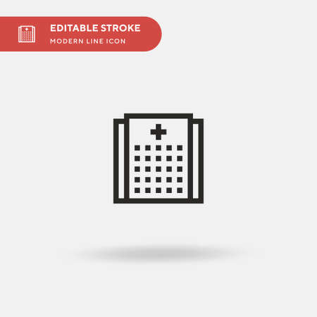 Hospital Simple vector icon. Illustration symbol design template for web mobile UI element. Perfect color modern pictogram on editable stroke. Hospital icons for your business project