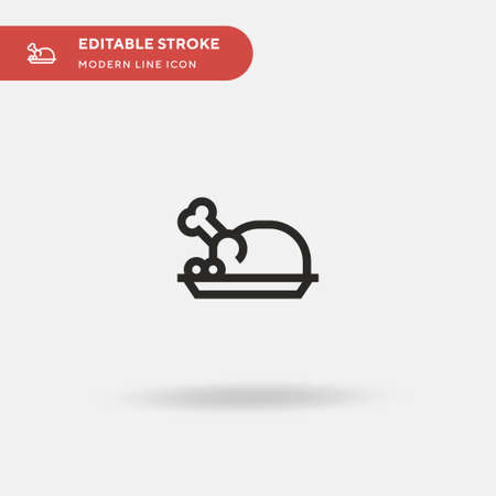 Roast Chicken Simple vector icon. Illustration symbol design template for web mobile UI element. Perfect color modern pictogram on editable stroke. Roast Chicken icons for your business project