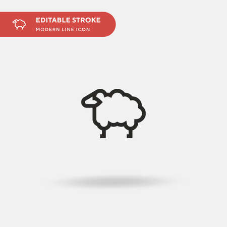 Sheep Simple vector icon. Illustration symbol design template for web mobile UI element. Perfect color modern pictogram on editable stroke. Sheep icons for your business project