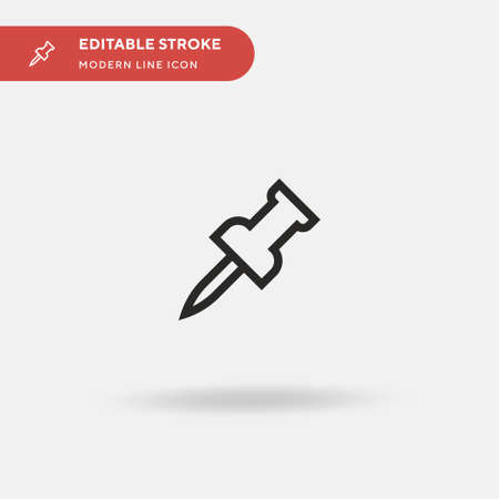 Pin Simple vector icon. Illustration symbol design template for web mobile UI element. Perfect color modern pictogram on editable stroke. Pin icons for your business project