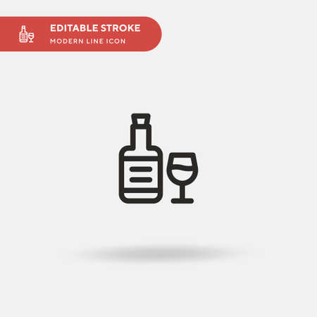 Gin Simple vector icon. Illustration symbol design template for web mobile UI element. Perfect color modern pictogram on editable stroke. Gin icons for your business project Vectores