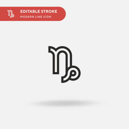 Capricorn Simple vector icon. Illustration symbol design template for web mobile UI element. Perfect color modern pictogram on editable stroke. Capricorn icons for your business project Illustration