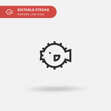 Blowfish Simple vector icon. Illustration symbol design template for web mobile UI element. Perfect color modern pictogram on editable stroke. Blowfish icons for your business project