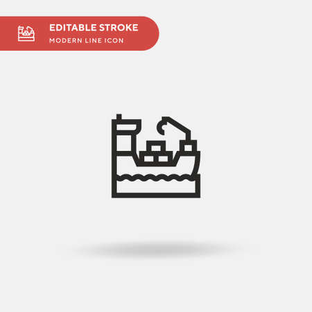 Cargo Ship Simple vector icon. Illustration symbol design template for web mobile UI element. Perfect color modern pictogram on editable stroke. Cargo Ship icons for your business project 일러스트