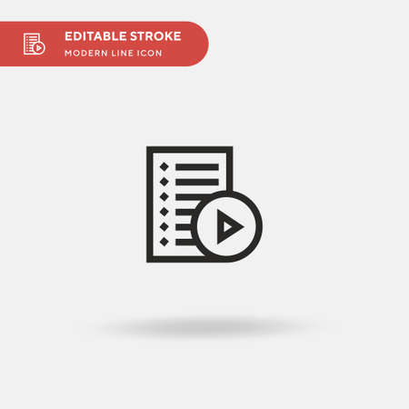 Playlist Simple vector icon. Illustration symbol design template for web mobile UI element. Perfect color modern pictogram on editable stroke. Playlist icons for your business project