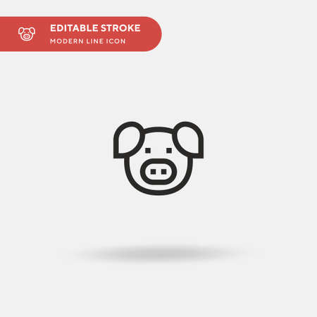 Pig Simple vector icon. Illustration symbol design template for web mobile UI element. Perfect color modern pictogram on editable stroke. Pig icons for your business project