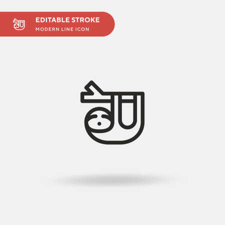 Sloth Simple vector icon. Illustration symbol design template for web mobile UI element. Perfect color modern pictogram on editable stroke. Sloth icons for your business project Stock Illustratie