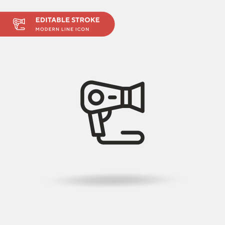 Hair Dryer Simple vector icon. Illustration symbol design template for web mobile UI element. Perfect color modern pictogram on editable stroke. Hair Dryer icons for your business project Vettoriali