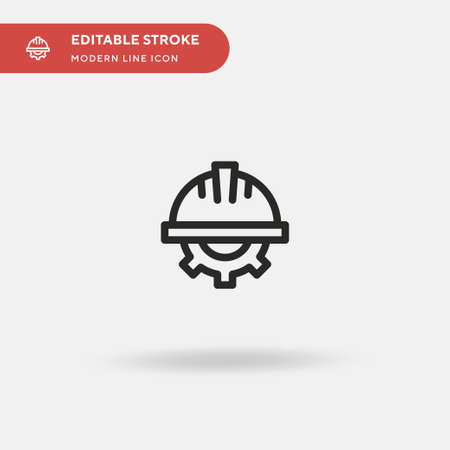 Helmet Simple vector icon. Illustration symbol design template for web mobile UI element. Perfect color modern pictogram on editable stroke. Helmet icons for your business project  イラスト・ベクター素材