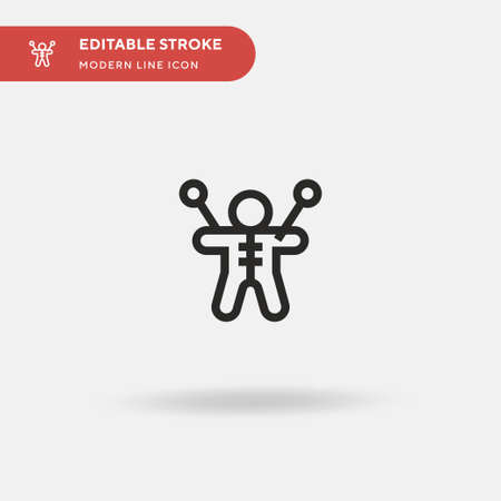 Voodoo Doll Simple vector icon. Illustration symbol design template for web mobile UI element. Perfect color modern pictogram on editable stroke. Voodoo Doll icons for your business project