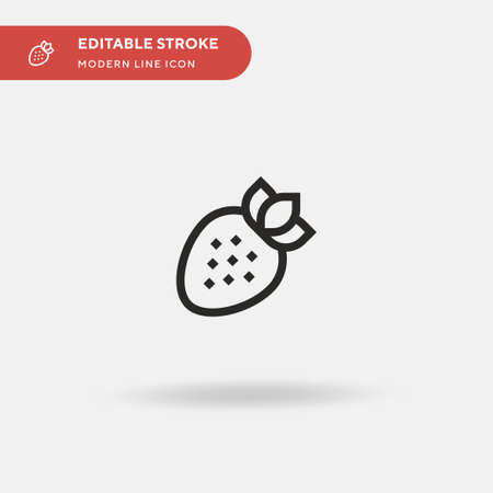 Strawberry Simple vector icon. Illustration symbol design template for web mobile UI element. Perfect color modern pictogram on editable stroke. Strawberry icons for your business project