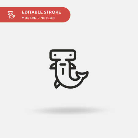 Hammerhead Simple vector icon. Illustration symbol design template for web mobile UI element. Perfect color modern pictogram on editable stroke. Hammerhead icons for your business project Çizim