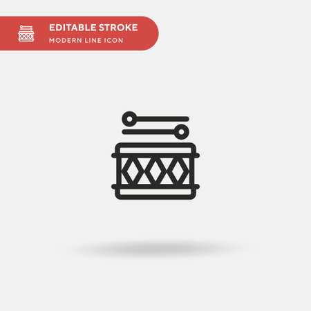 Drums Simple vector icon. Illustration symbol design template for web mobile UI element. Perfect color modern pictogram on editable stroke. Drums icons for your business project
