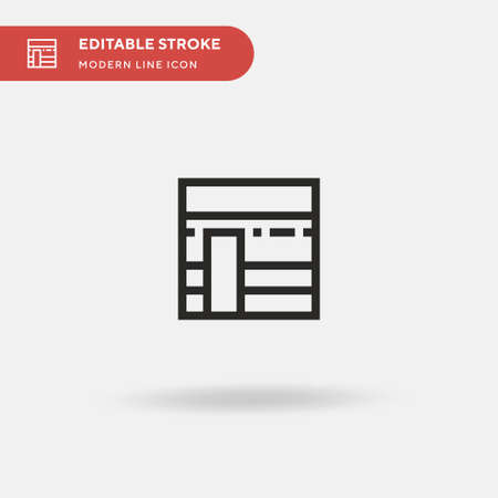 Kaaba Simple vector icon. Illustration symbol design template for web mobile UI element. Perfect color modern pictogram on editable stroke. Kaaba icons for your business project