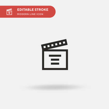 Clapperboard Simple vector icon. Illustration symbol design template for web mobile UI element. Perfect color modern pictogram on editable stroke. Clapperboard icons for your business project