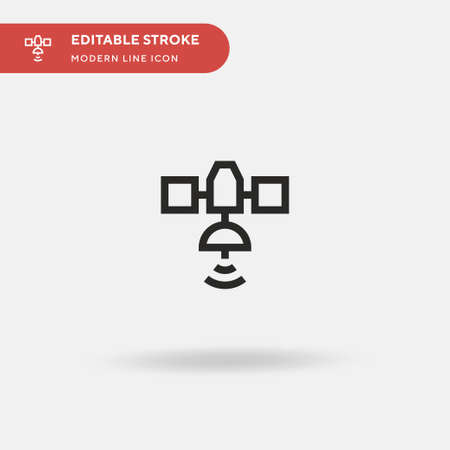 Satellite Simple vector icon. Illustration symbol design template for web mobile UI element. Perfect color modern pictogram on editable stroke. Satellite icons for your business project