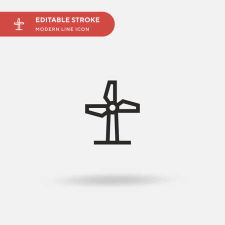 Windmill Simple vector icon. Illustration symbol design template for web mobile UI element. Perfect color modern pictogram on editable stroke. Windmill icons for your business project