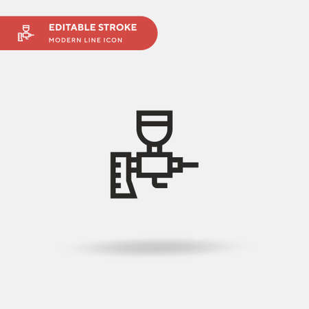 Spray Gun Simple vector icon. Illustration symbol design template for web mobile UI element. Perfect color modern pictogram on editable stroke. Spray Gun icons for your business project