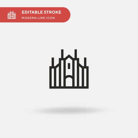 Duomo Di Milano Simple vector icon. Illustration symbol design template for web mobile UI element. Perfect color modern pictogram on editable stroke. Duomo Di Milano icons for your business project 免版税图像 - 152599855
