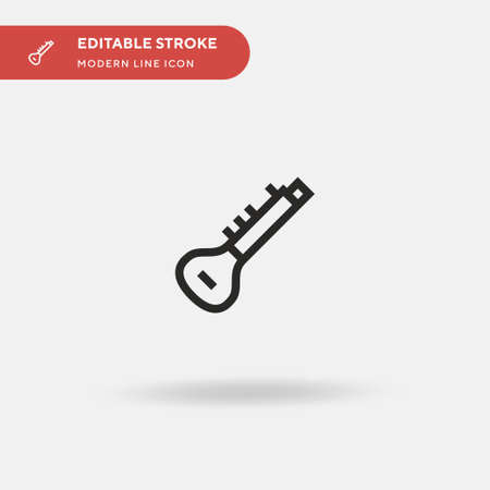 Sitar Simple vector icon. Illustration symbol design template for web mobile UI element. Perfect color modern pictogram on editable stroke. Sitar icons for your business project Illusztráció