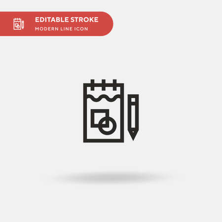 Sketchbook Simple vector icon. Illustration symbol design template for web mobile UI element. Perfect color modern pictogram on editable stroke. Sketchbook icons for your business project