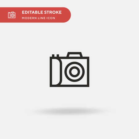 Photo Camera Simple vector icon. Illustration symbol design template for web mobile UI element. Perfect color modern pictogram on editable stroke. Photo Camera icons for your business project Vectores