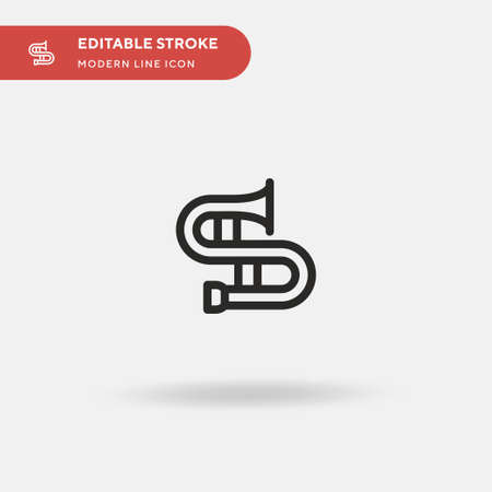 Trombone Simple vector icon. Illustration symbol design template for web mobile UI element. Perfect color modern pictogram on editable stroke. Trombone icons for your business project