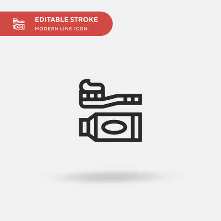 Toothbrush Simple vector icon. Illustration symbol design template for web mobile UI element. Perfect color modern pictogram on editable stroke. Toothbrush icons for your business project