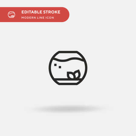 Fish Bowl Simple vector icon. Illustration symbol design template for web mobile UI element. Perfect color modern pictogram on editable stroke. Fish Bowl icons for your business project