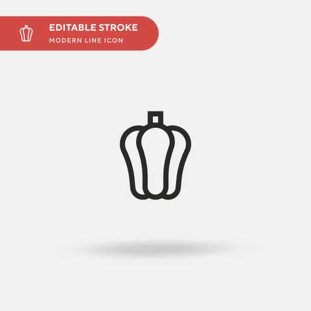 Pepper Simple vector icon. Illustration symbol design template for web mobile UI element. Perfect color modern pictogram on editable stroke. Pepper icons for your business project Ilustração